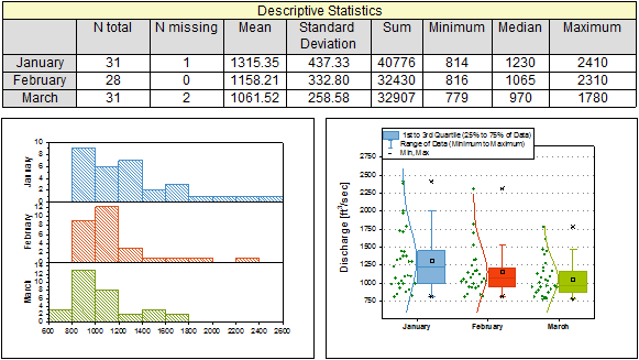 Descriptive statistics report table and graphs