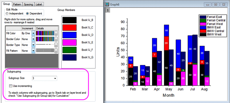 Plot Details settings for grouping of stacked plots and control of group color behavior