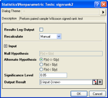 Paired-Sample Wilcoxon Signed Rank Test interface