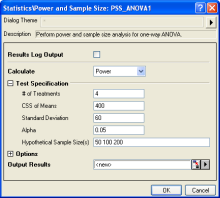 Powe and Sample Size for one-way ANOVA interface