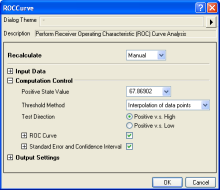 ROC Curve interface