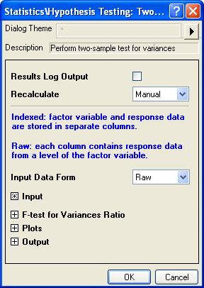 Two Sample Test for Variance interface