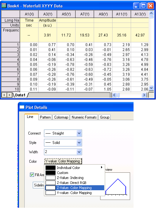 Worksheet data and colormap controls in Plot Details dialog for Waterfall Plot